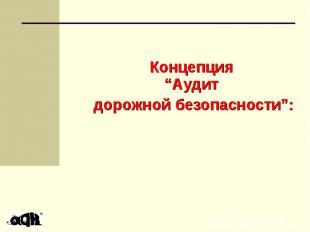 """Концепция """"Аудит дорожной безопасности"""":"""