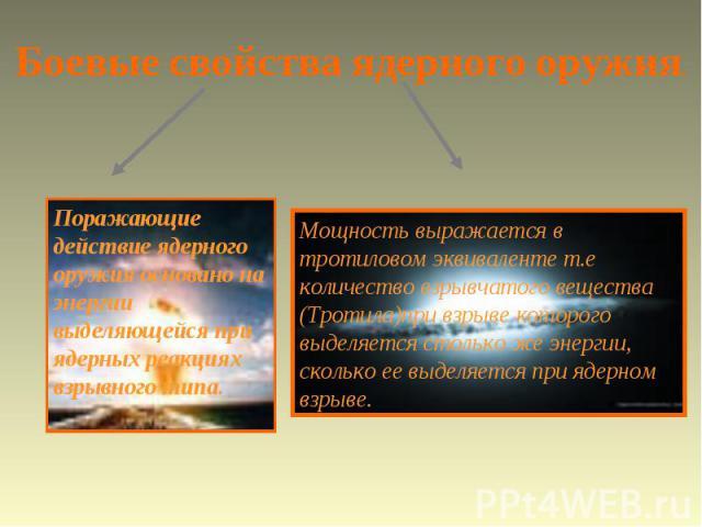 Боевые свойства ядерного оружия. Поражающие действие ядерного оружия основано на энергии выделяющейся при ядерных реакциях взрывного типа. Мощность выражается в тротиловом эквиваленте т.е количество взрывчатого вещества (Тротила)при взрыве которого …