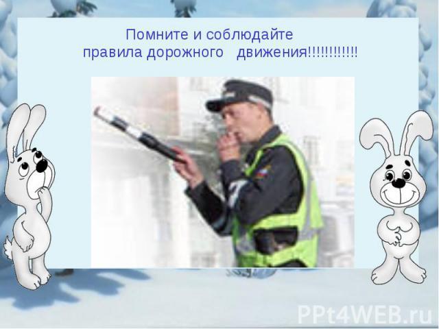 Помните и соблюдайте правила дорожного движения!!!!!!!!!!!!