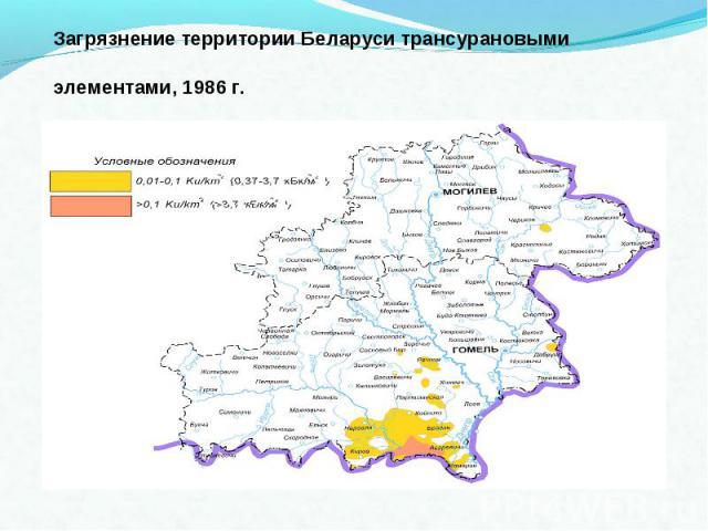 Загрязнение территории Беларуси трансурановыми элементами, 1986 г.