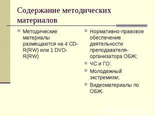 Содержание методических материалов Методические материалы размещаются на 4 CD-R(