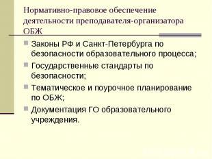 Нормативно-правовое обеспечение деятельности преподавателя-организатора ОБЖ Зако