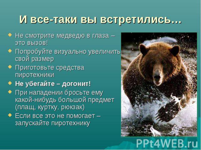 И все-таки вы встретились… Не смотрите медведю в глаза – это вызов!Попробуйте визуально увеличить свой размерПриготовьте средства пиротехникиНе убегайте – догонит!При нападении бросьте ему какой-нибудь большой предмет (плащ, куртку, рюкзак)Если все …