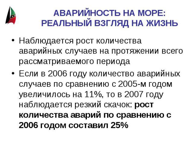 АВАРИЙНОСТЬ НА МОРЕ: РЕАЛЬНЫЙ ВЗГЛЯД НА ЖИЗНЬ Наблюдается рост количества аварийных случаев на протяжении всего рассматриваемого периодаЕсли в 2006 году количество аварийных случаев по сравнению с 2005-м годом увеличилось на 11%, то в 2007 году набл…