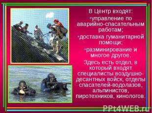 В Центр входят:управление по аварийно-спасательным работам;доставка гуманитарной