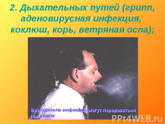 2. Дыхательных путей (грипп, аденовирусная инфекция, коклюш, корь, ветряная оспа);