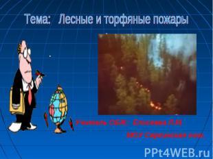 Тема: Лесные и торфяные пожарыУчитель ОБЖ: Елисеева Л.М. МОУ Сергинская оош.