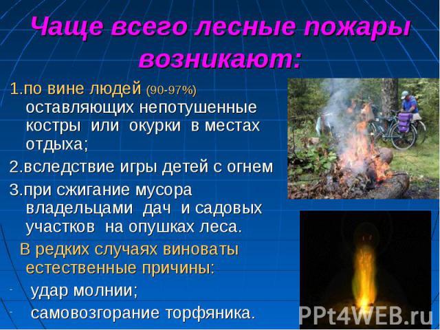 Чаще всего лесные пожары возникают: 1.по вине людей (90-97%) оставляющих непотушенные костры или окурки в местах отдыха; 2.вследствие игры детей с огнем3.при сжигание мусора владельцами дач и садовых участков на опушках леса. В редких случаях винова…