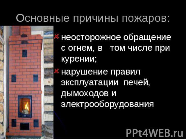Основные причины пожаров: неосторожное обращение с огнем, в том числе при курении;нарушение правил эксплуатации печей, дымоходов и электрооборудования