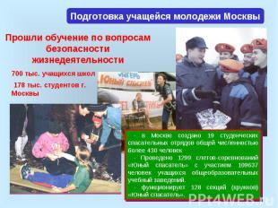 Подготовка учащейся молодежи Москвы Прошли обучение по вопросам безопасности жиз