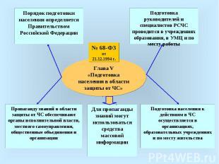 Глава V«Подготовка населения в области защиты от ЧС»Порядок подготовки населения
