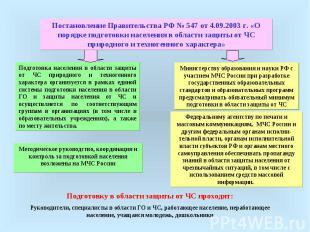 Постановление Правительства РФ № 547 от 4.09.2003 г. «О порядке подготовки насел