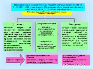 Постановление Правительства Российской Федерации № 841 от 2.11.2000 г. «Об утвер
