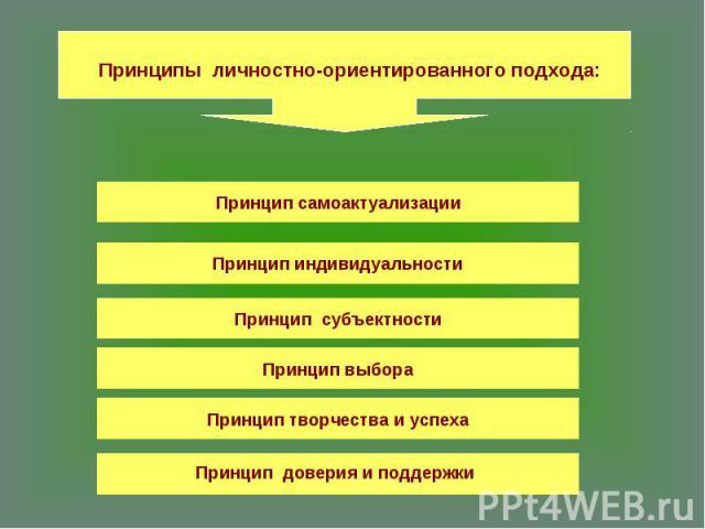 Принципы личностно-ориентированного подхода:Принцип самоактуализацииПринцип индивидуальностиПринцип субъектностиПринцип выбораПринцип творчества и успехаПринцип доверия и поддержки