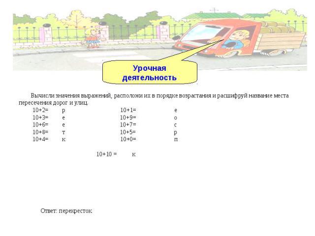 Урочная деятельность Вычисли значения выражений, расположи их в порядке возрастания и расшифруй название места пересечения дорог и улиц. 10+2= р 10+1= е 10+3= е 10+9= о 10+6= е 10+7= с 10+8= т 10+5= р 10+4= к 10+0= п 10+10 = к