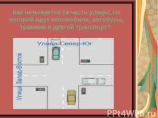 Как называется та часть улицы, по которой идут автомобили, автобусы, трамваи и д