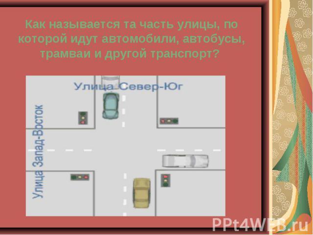Как называется та часть улицы, по которой идут автомобили, автобусы, трамваи и другой транспорт?