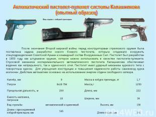 Автоматический пистолет-пулемет системы Калашникова (опытный образец)После оконч