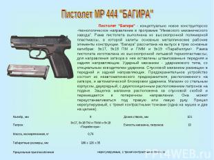 """Пистолет МР 444 """"БАГИРА"""" Пистолет """"Багира"""" - концептуально новое конструкторско"""