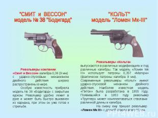 """""""СМИТ и ВЕССОН"""" модель № 38 """"Бодигард""""Револьверы компании«Смит и Вессон» калибра"""