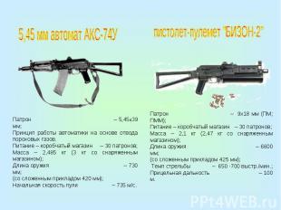5,45 мм автомат АКС-74УПатрон – 5,45х39 мм;Принцип работы автоматики на основе о