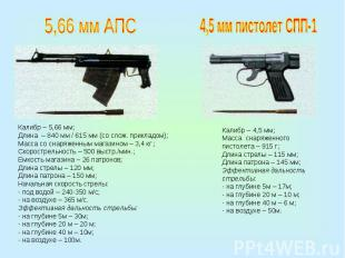 5,66 мм АПСКалибр – 5,66 мм;Длина – 840 мм / 615 мм (со слож. прикладом);Масса с