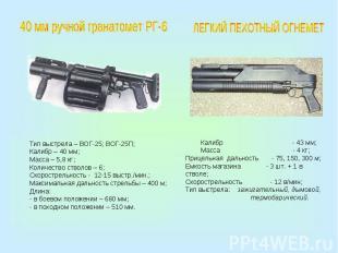 40 мм ручной гранатомет РГ-6Тип выстрела – ВОГ-25; ВОГ-25П;Калибр – 40 мм;Масса