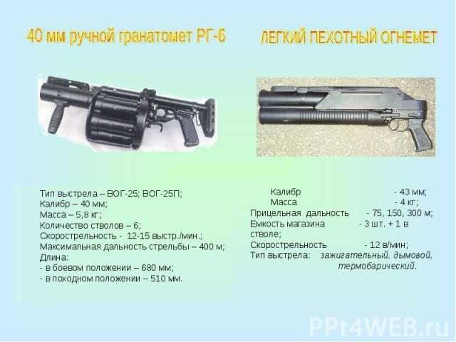 40 мм ручной гранатомет РГ-6Тип выстрела – ВОГ-25; ВОГ-25П;Калибр – 40 мм;Масса – 5,8 кг ;Количество стволов – 6;Скорострельность - 12-15 выстр./мин.;Максимальная дальность стрельбы – 400 м;Длина:- в боевом положении – 680 мм;- в походном положении …