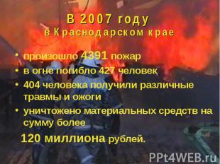 В 2007 году в Краснодарском крае произошло 4391 пожарв огне погибло 427 человек4
