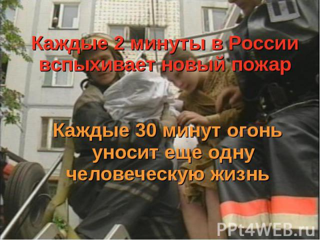 Каждые 2 минуты в России вспыхивает новый пожар Каждые 30 минут огонь уносит еще одну человеческую жизнь