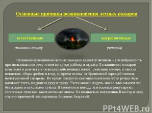 Основные причины возникновения лесных пожаров Основным виновником лес