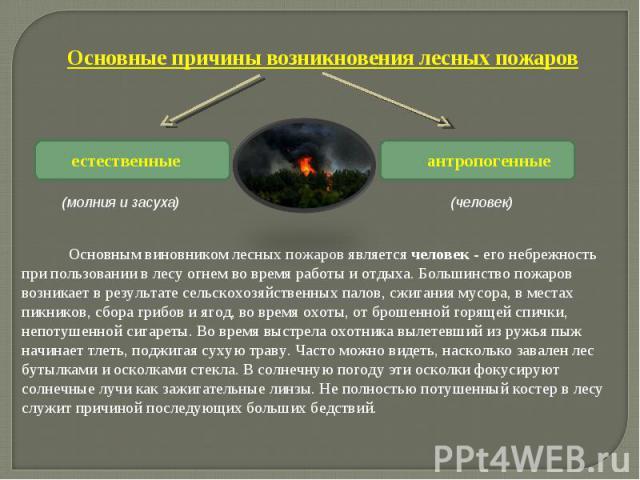 Основные причины возникновения лесных пожаров Основным виновником лесных пожаров является человек - его небрежность при пользовании в лесу огнем во время работы и отдыха. Большинство пожаров возникает в результате сельскохозяйственных пал…