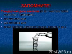 ЗАПОМНИТЕ! Стандартная доза алкоголя (8-12 г чистого 100% этанола) – примерно:25