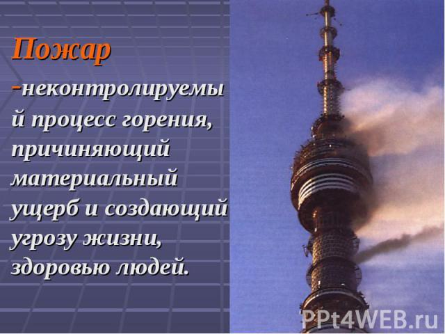 Пожар -неконтролируемый процесс горения, причиняющий материальный ущерб и создающий угрозу жизни, здоровью людей.