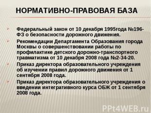 Нормативно-правовая база Федеральный закон от 10 декабря 1995года №196-ФЗ о безо