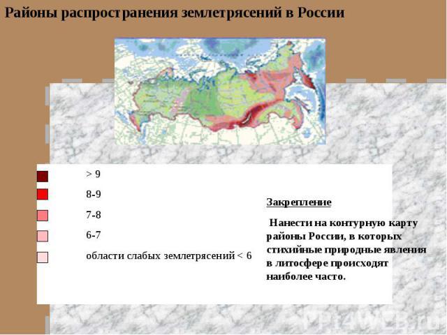 Районы распространения землетрясений в РоссииЗакрепление Нанести на контурную карту районы России, в которых стихийные природные явления в литосфере происходят наиболее часто.