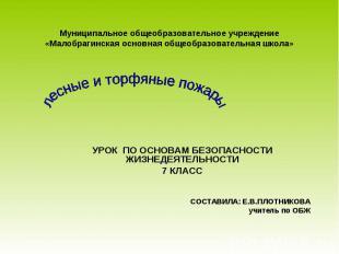 Муниципальное общеобразовательное учреждение«Малобрагинская основная общеобразов