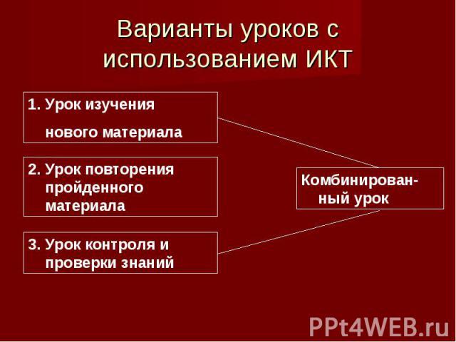 Варианты уроков с использованием ИКТ