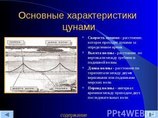 Основные характеристики цунами Скорость цунами - расстояние, которое проходит цу