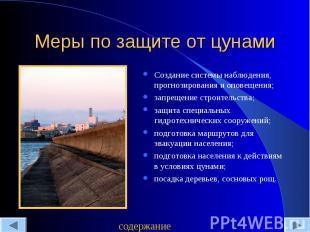 Меры по защите от цунами Создание системы наблюдения, прогнозирования и оповещен