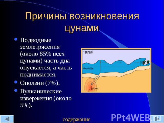 Причины возникновения цунами Подводные землетрясения (около 85% всех цунами) часть дна опускается, а часть поднимается.Оползни (7%).Вулканические извержения (около 5%).