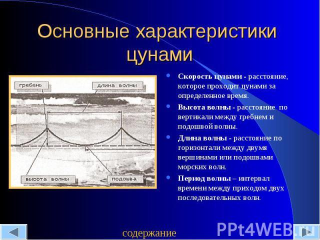 Основные характеристики цунами Скорость цунами - расстояние, которое проходит цунами за определенное время.Высота волны - расстояние по вертикали между гребнем и подошвой волны.Длина волны - расстояние по горизонтали между двумя вершинами или подошв…