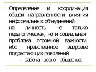 Определение и координация общей направленности влияния неформальных объединений