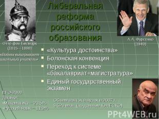 Либеральная реформа российского образования «Культура достоинства»Болонская конв