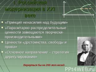 I. Российская модернизация в XXI веке «Принцип ненасилия над будущим»«Паразитарн