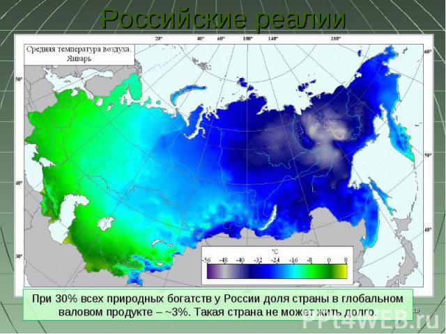 Российские реалии При 30% всех природных богатств у России доля страны в глобальном валовом продукте – ~3%. Такая страна не может жить долго.