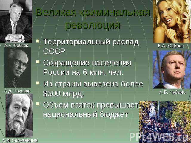 Великая криминальная революция Территориальный распад СССРСокращение населения России на 6 млн. чел.Из страны вывезено более $500 млрд.Объем взяток превышает национальный бюджет
