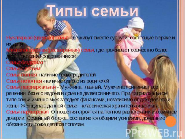 Типы семьиНуклеарная (ядерная) семья, где живут вместе супруги, состоящие в браке и их дети Многопоколенная (расширенная) семья, где проживают совместно более двух поколений родственников.Семья бездетная Семья с детьмиСемья полная -наличие обоих род…