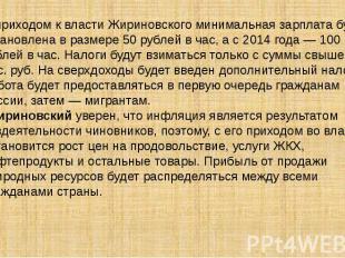 С приходом к власти Жириновского минимальная зарплата будет установлена в размер