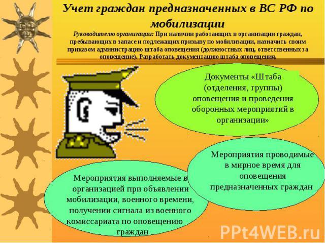 Учет граждан предназначенных в ВС РФ по мобилизацииРуководителю организации: При наличии работающих в организации граждан, пребывающих в запасе и подлежащих призыву по мобилизации, назначить своим приказом администрацию штаба оповещения (должностных…